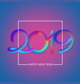 purple happy new year 2019 card with colorful vector image vector image
