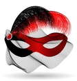 red-black carnival half-mask and feathers vector image