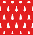 red christmas pattern with christmas trees vector image