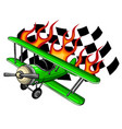 retro flat looking plane and emblem with wings vector image vector image