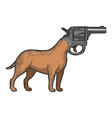 revolver gun as dog head color sketch engraving vector image