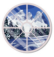 round window overlooking snow-covered vector image