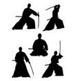 samurai gesture silhouette 01 vector image vector image