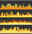 seamless hot fire flame set danger fire light vector image vector image