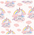 seamless pattern with unicorn on clouds vector image