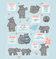set couple hippos in different poses vector image vector image