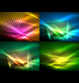 set of glowing flowing wave neon backgrounds vector image