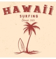 Silhouette of palm and surfboard with text Hawaii vector image vector image