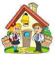 small school with kids in uniforms vector image