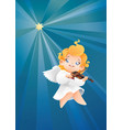 smilyng flying on a night sky kid angel musician vector image vector image