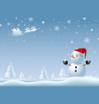 snowman looking at santa clause at winter vector image vector image