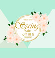 spring sale banner template with paper flower vector image vector image