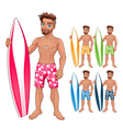 Surfer boy in different colors vector image