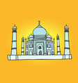 taj mahal india asia travel and tourism vector image vector image