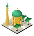 temple minaret and palm trees in isometric view vector image vector image