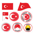 turkey flag set color on white background vector image