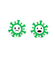 virus and bacteria icons green circles with angry vector image vector image