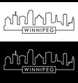 winnipeg skyline linear style editable file vector image vector image