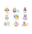yoga center set colorful promo sign design vector image