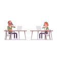 young red-haired man and woman sitting and working vector image
