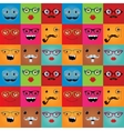 Funny hipster monster faces seamless background vector image
