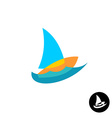 Sail boat yacht club colorful logo Overlay style vector image