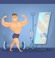 muscular man posing a front of mirror bodybuilder vector image