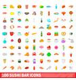 100 sushi bar icons set cartoon style vector image vector image