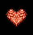 abstraction icon heart made of red stars for dark vector image