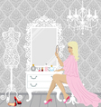 Beautiful fashion woman in her boudoir vector image