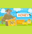 beekeeper offers natural honey vector image vector image