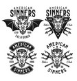 biker club emblems with horned devil head vector image vector image