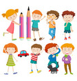 boys and girls in different actions vector image vector image