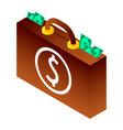 bribery money suitcase icon isometric style vector image