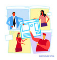businesspeople developers building computer vector image