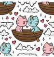 cat kiss in boat cartoon seamless pattern vector image