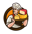 chef holding a tray of cheese food eating vector image vector image