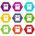 child t shirt icons set 9 vector image vector image