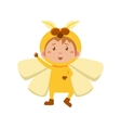 Child Wearing Costume of Yellow Butterfly vector image