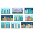 cityscape with residential and public buildings vector image