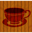 Coffee cup on a wooden background vector image vector image