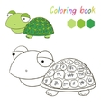 Coloring book turtle kids layout for game vector image vector image