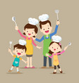 cute family cooking vector image vector image
