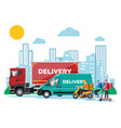 delivery man on van truck scooter bicycle vector image vector image