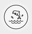 dolphin splashes icon editable thin line vector image