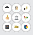 flat icon finance set of money box parasol bank vector image