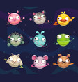 funny cartoon animal planets set space vector image