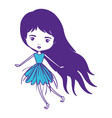 girly fairy without wings and purple long hair and vector image