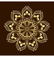 Hand drawn gold flower mandala over dark brown vector image vector image