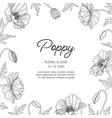 hand drawn poppy floral greeting card background vector image vector image
